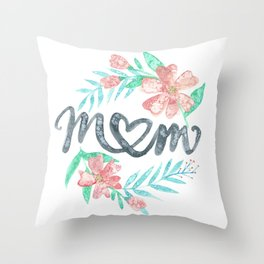 Mom Watercolor Floral Wreath Throw Pillow