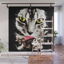 cat kitty licks licking paws perfectly Wall Mural