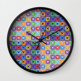 Colorful squares patchwork pattern Wall Clock