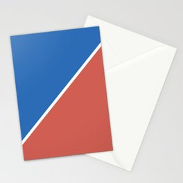 Fire Red & Mild Blue - oblique Stationery Cards