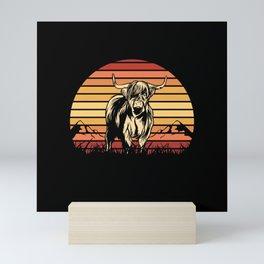 Highland cow with retro Sunset Mini Art Print