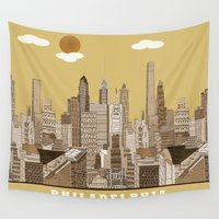 philadelphia Wall Tapestries featuring Philadelphia skyline vintage by bri.buckley