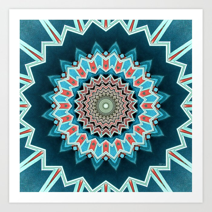 Blue And Turquoise Pattern Art Print