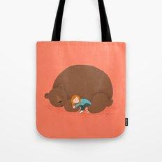 Bear and girl: sleeping Tote Bag
