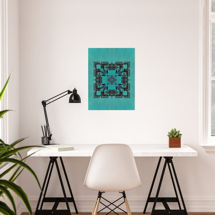 Turquoise Ornate Abstract Design Poster