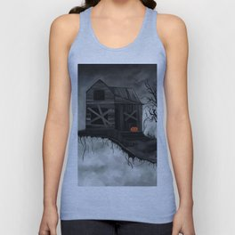 Haunted House and Jolly Pumpkin Unisex Tank Top