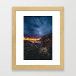 Southwest Lake Sunset Framed Art Print