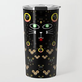 Merry black cat in the night and a mouse involved pop-art Travel Mug