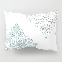 Scroll Damask Art I (outline) Blue Gray Wt Pillow Sham