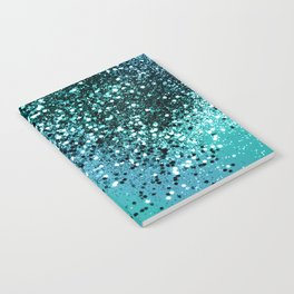 Aqua Blue OCEAN Glitter #1 #shiny #decor #art #society6 Notebook