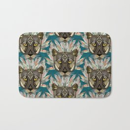 native mountain lion blue Bath Mat