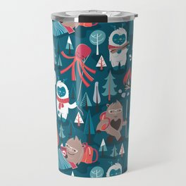 Besties // blue background white Yeti brown Bigfoot blue pine trees red and coral details Travel Mug