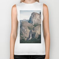 yosemite Biker Tanks featuring Yosemite Waterfall by Laura Ruth
