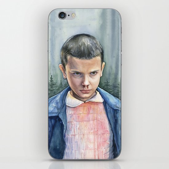 Stranger Things Eleven Watercolor Portrait Art iPhone Skin
