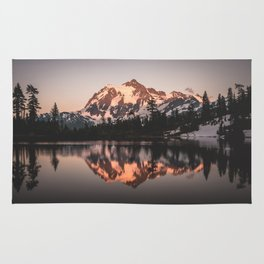 Alpenglow - Mountain Reflection - Nature Photography Rug