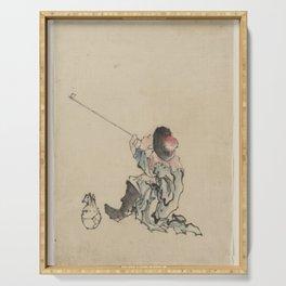 Japanese Art Print - Hokusai - A Traveller Smoking a Pipe (1830s) Serving Tray