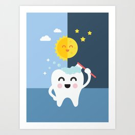 Brush your Teeth Morning and Night Art Print