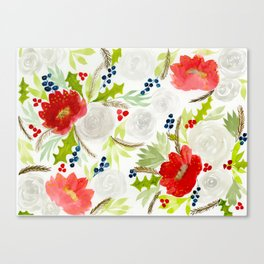 Winter Watercolor Florals Red & White Canvas Print