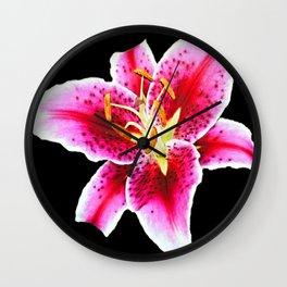 FUCHSIA PINK ASIATIC LILY FLOWER BLACK Wall Clock