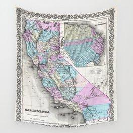 Map of California and San Francisco 1855 Wall Tapestry