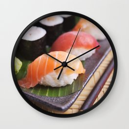 Various Japanese sushi on a plate, shallow depth of field Wall Clock