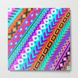 Painted Tribal Multi-Color Rainbow Metal Print