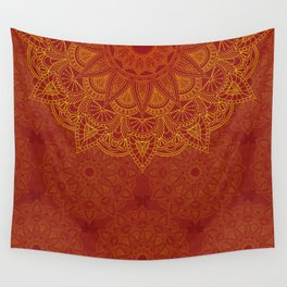 Mandala II  - red & gold Wall Tapestry