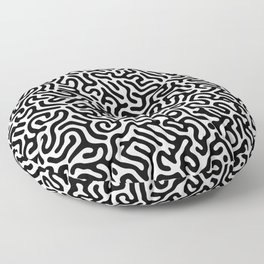 Black and White Organic MAZE Pattern Floor Pillow