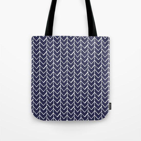 Herringbone Blue And White Tote Bag