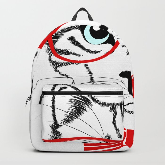 Hipster Cat with Red Glasses Backpack