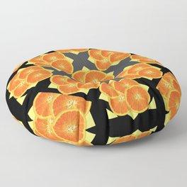 CONTEMPORARY SUCCULENT  ORANGES BLACK-GREY ART DESIGN Floor Pillow