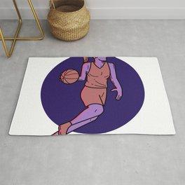 Woman Basketball Player Dribbling Mono Line Art Rug