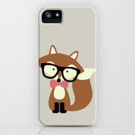Glasses and Bow Tie Hipster Brown Fox iPhone Case