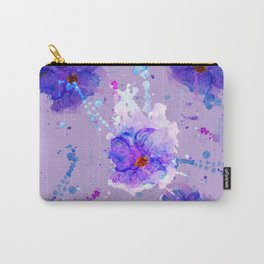 Violet Watercolor Flower Carry-All Pouch