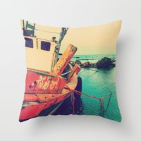 boat Throw Pillows featuring Boat by AJAN