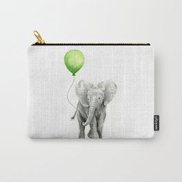 Baby Elephant with Green Balloon Carry-All Pouch