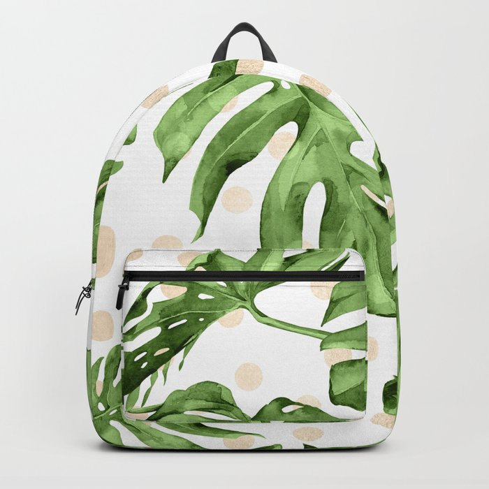 Simply Tropical White Gold Sands Dots and Palm Leaves Backpack