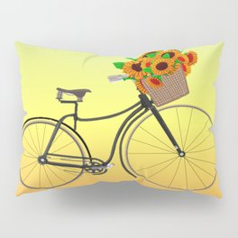 Bicycle Sunflowers Pillow Sham