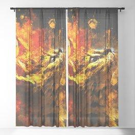 serval cat splatter watercolor Sheer Curtain