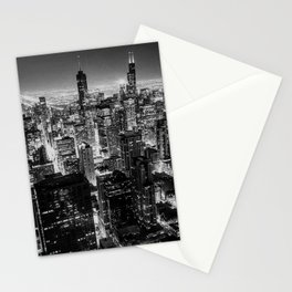 Chicago Skyline at Night Stationery Cards