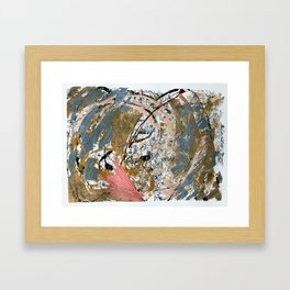 Symphony [2]: colorful abstract piece in gray, brown, pink, black and white Framed Art Print