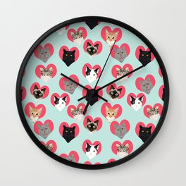 Cat hearts valentines day cat lady gifts for cat lovers cat breeds pet portraits Wall Clock