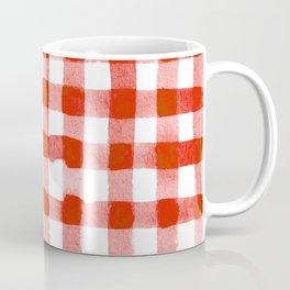 Handpainted Classic Gingham Pattern Tomato Red Coffee Mug