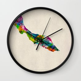 Curacao Map in Watercolor Wall Clock