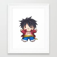 luffy Framed Art Prints featuring Hello Luffy by ADCArtAttack