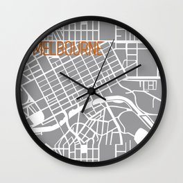 Melbourne grey and white map Wall Clock
