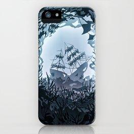 Underwater Shiwreck Papercut iPhone Case