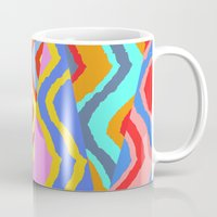 striped Mugs featuring Striped Chevrons by Sarah Bagshaw
