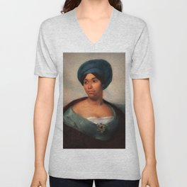 African American Masterpiece 'African Woman in a Blue Turban' by Eugene Delacroix Unisex V-Neck