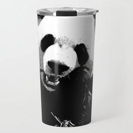 Cute Giant Panda Bear with tasty Bamboo Leaves Travel Mug